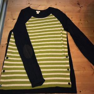 Navy and green striped J. Crew sweater